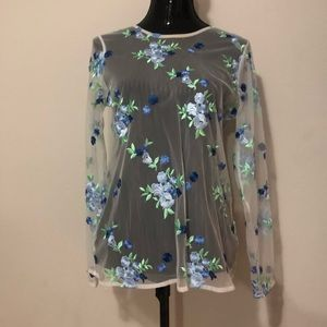 NWT Mesh Embroidered flowered shirt